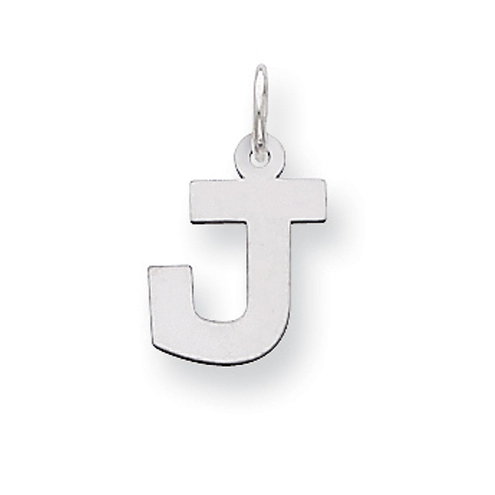 Sterling Silver, Amanda Collection Small Block Style Initial J Pendant, Item P10417-J by The Black Bow Jewelry Co.