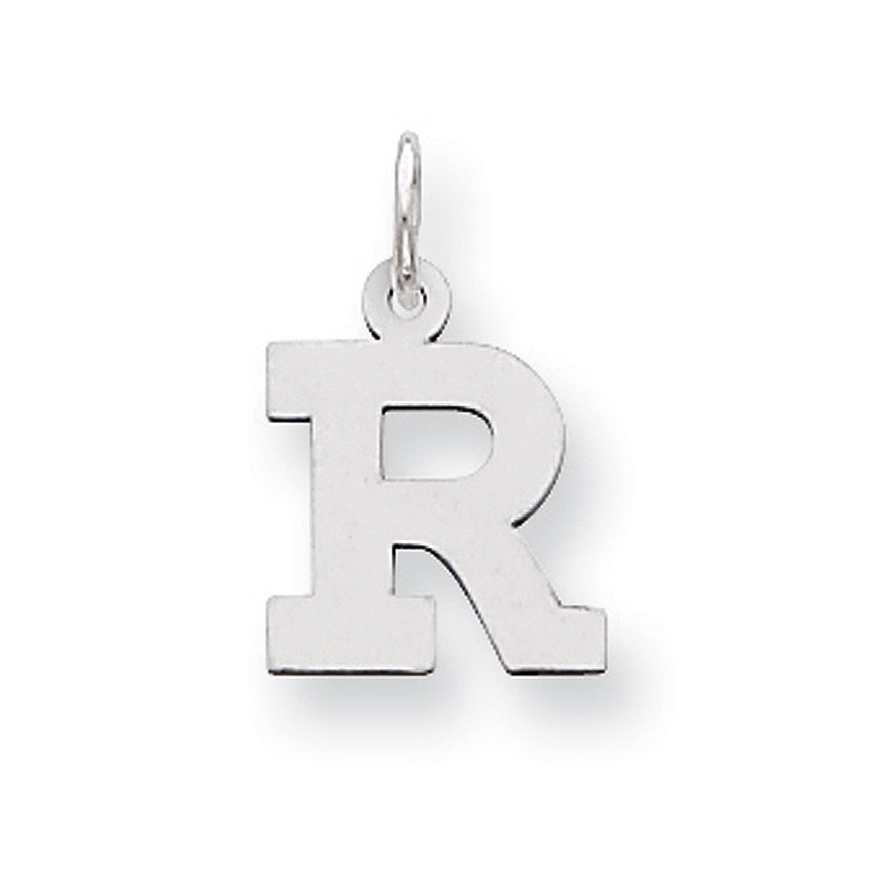 Sterling Silver, Amanda Collection Small Block Style Initial R Pendant, Item P10417-R by The Black Bow Jewelry Co.