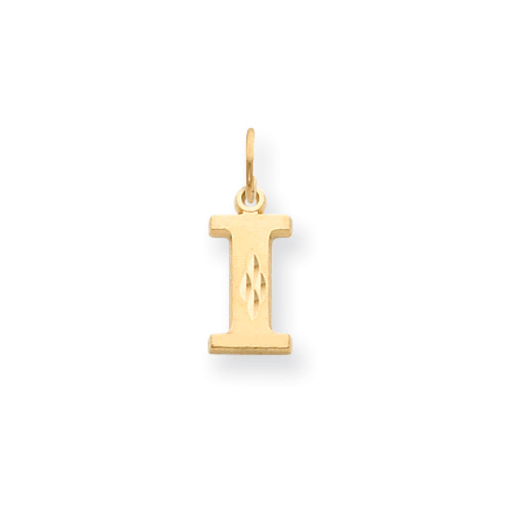 14k Yellow Gold, Julia Collection, Small Satin Block Initial I Pendant, Item P10422-I by The Black Bow Jewelry Co.