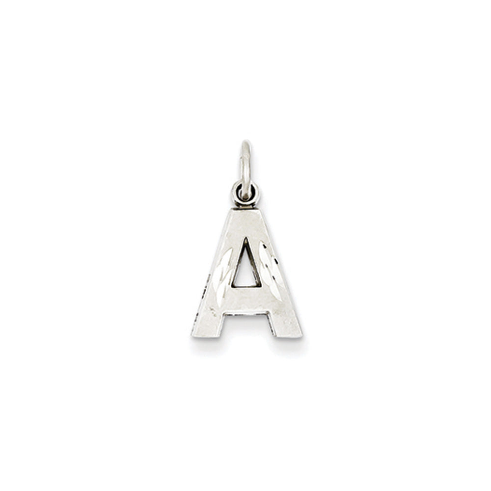 14k White Gold, Julia Collection, Small Satin Block Initial A Pendant, Item P10423-A by The Black Bow Jewelry Co.