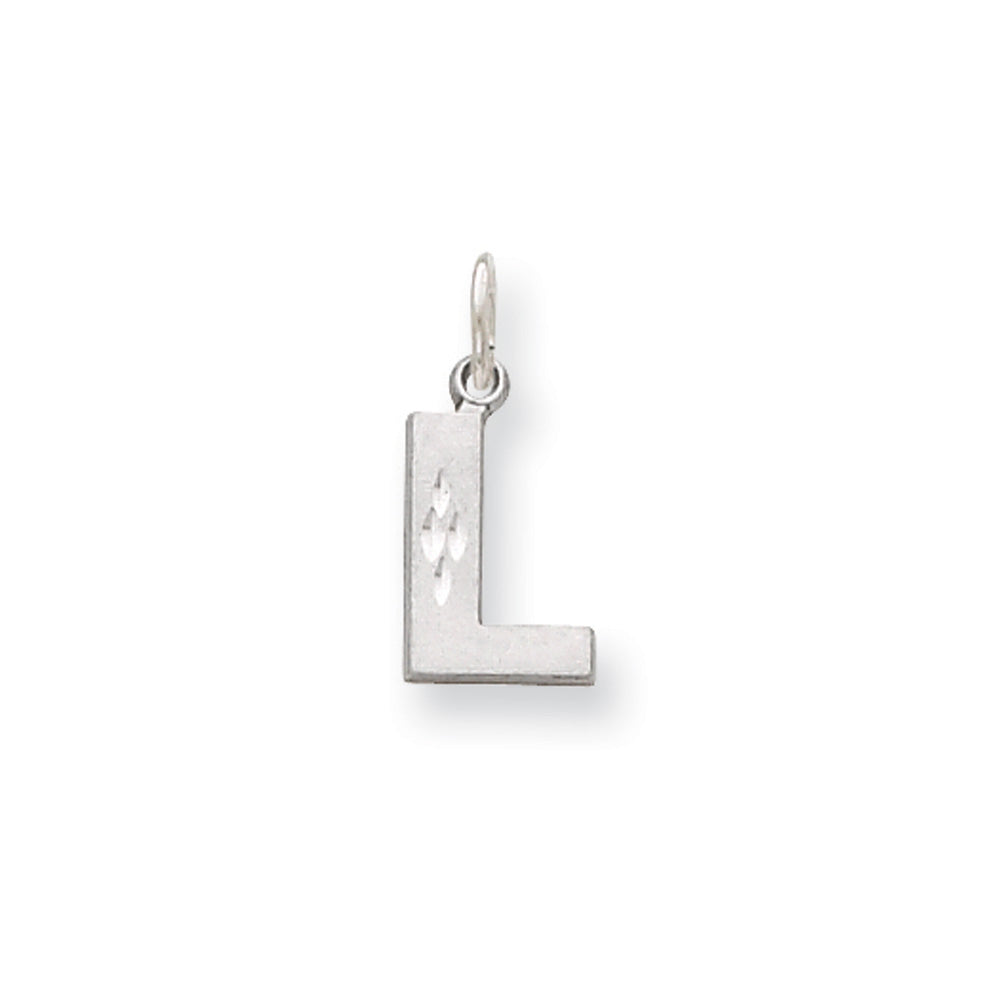 14k White Gold, Julia Collection, Small Satin Block Initial L Pendant, Item P10423-L by The Black Bow Jewelry Co.