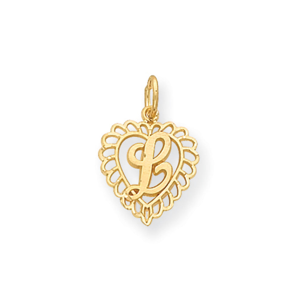 14k Yellow Gold, Grace Collection, Satin Heart Initial L Pendant, 15mm, Item P10425-L by The Black Bow Jewelry Co.