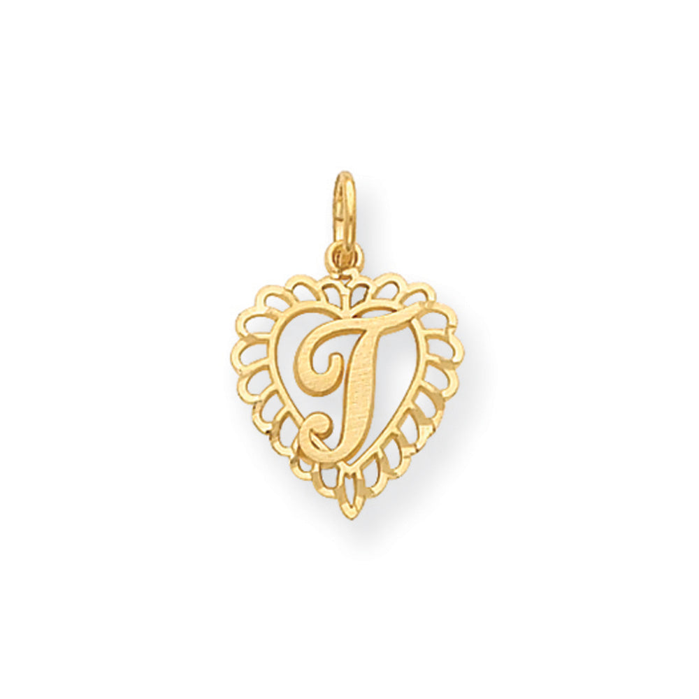 14k Yellow Gold, Grace Collection, Satin Heart Initial T Pendant, 15mm, Item P10425-T by The Black Bow Jewelry Co.