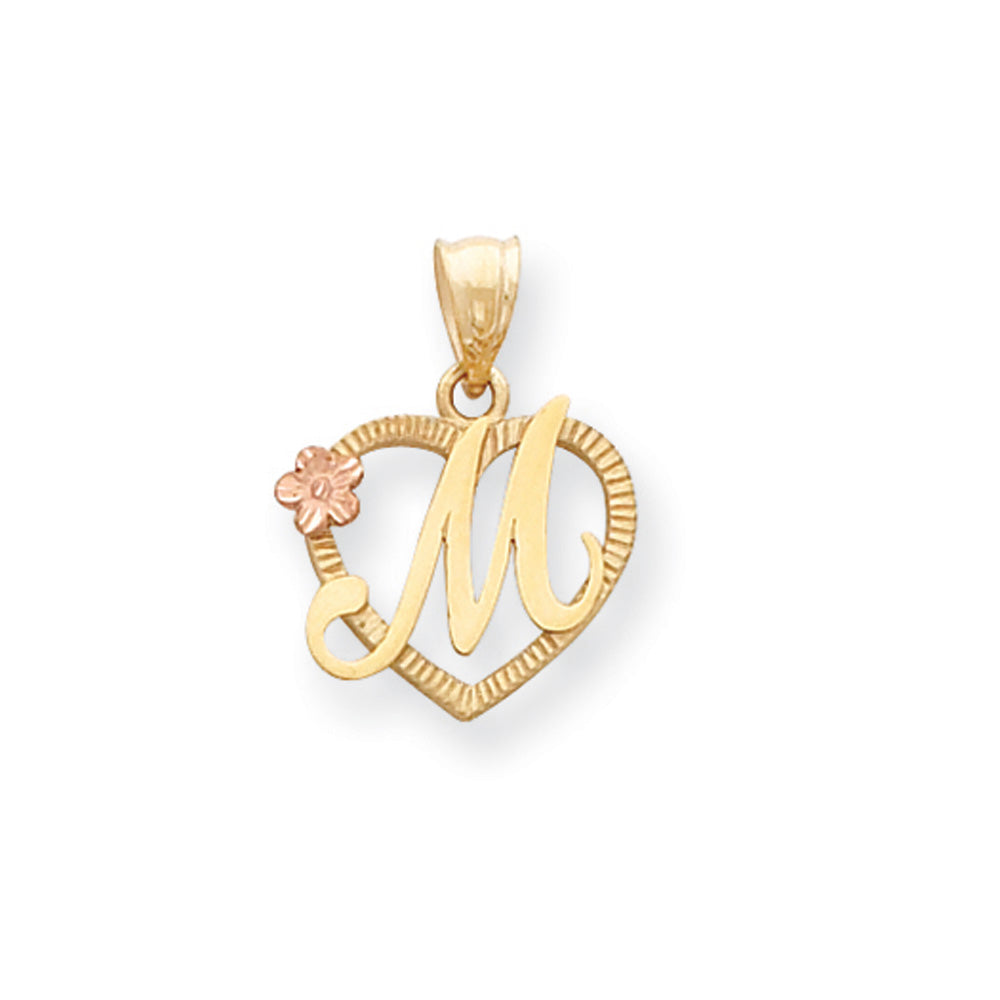 14k Two Tone Gold Grace Collection 15mm Heart Initial M Pendant, Item P10426-M by The Black Bow Jewelry Co.