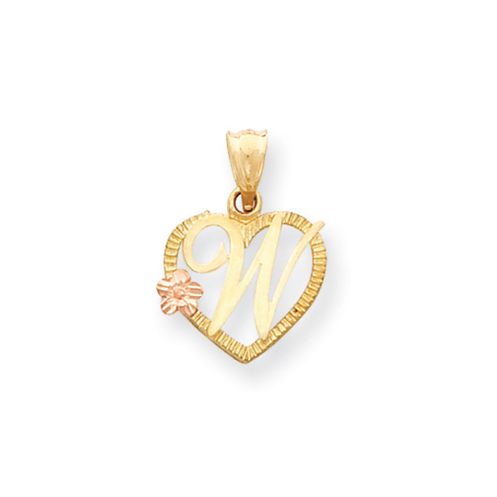 14k Two Tone Gold Grace Collection 15mm Heart Initial W Pendant, Item P10426-W by The Black Bow Jewelry Co.