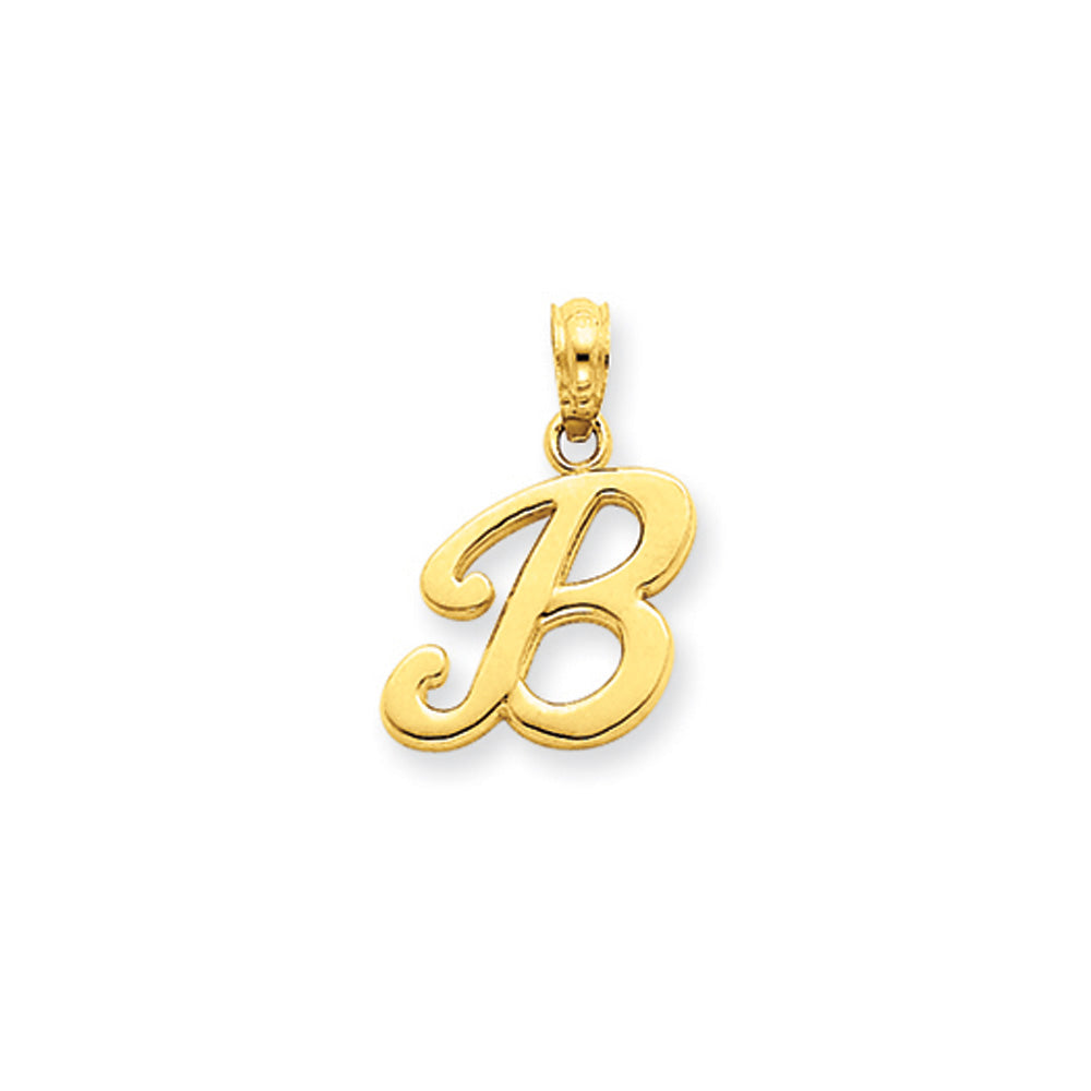 14k Yellow Gold, Mimi Collection, Small Script Initial B Pendant, Item P10427-B by The Black Bow Jewelry Co.