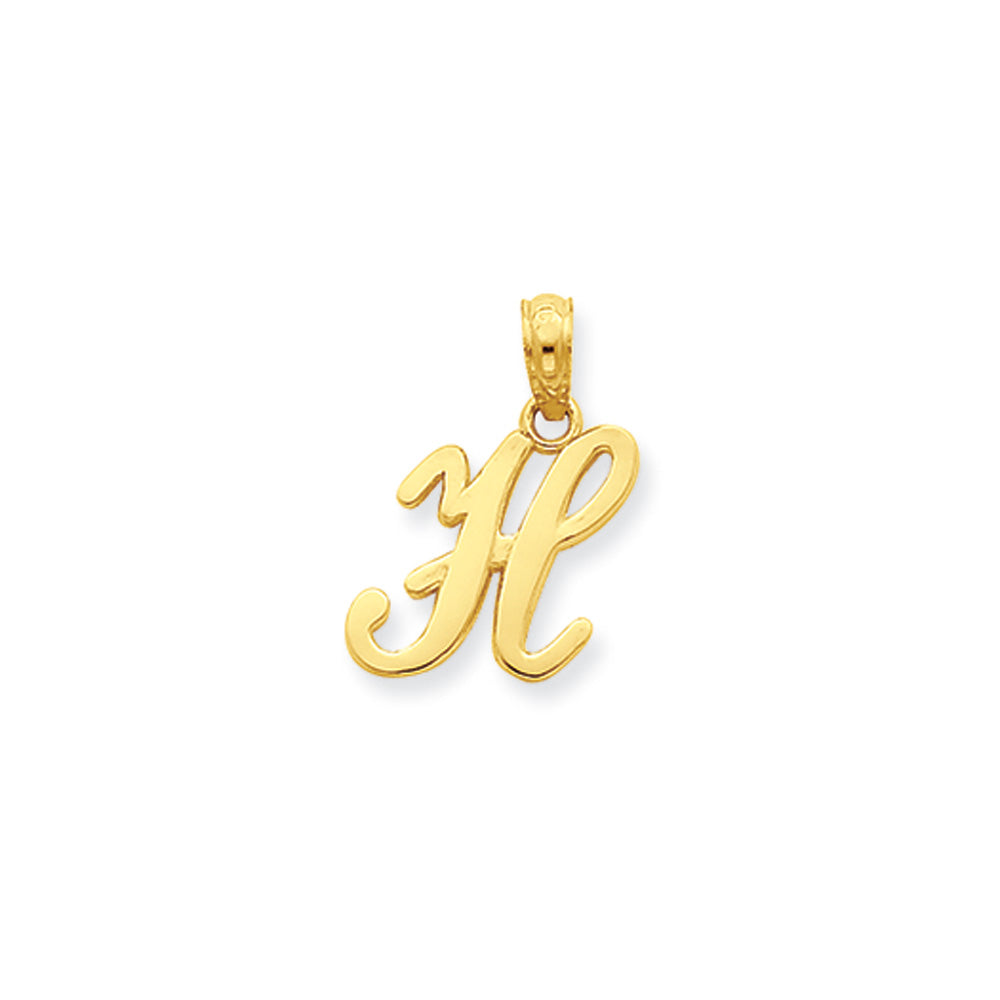 14k Yellow Gold, Mimi Collection, Small Script Initial H Pendant, Item P10427-H by The Black Bow Jewelry Co.