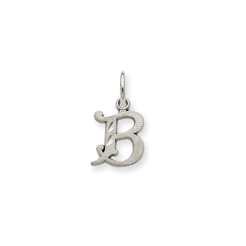 14k White Gold, Isabelle Collection, Mini Letter B Initial Charm, Item P10429-B by The Black Bow Jewelry Co.