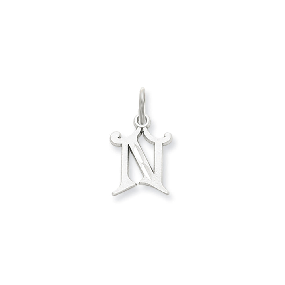 14k White Gold, Isabelle Collection, Mini Letter N Initial Charm, Item P10429-N by The Black Bow Jewelry Co.