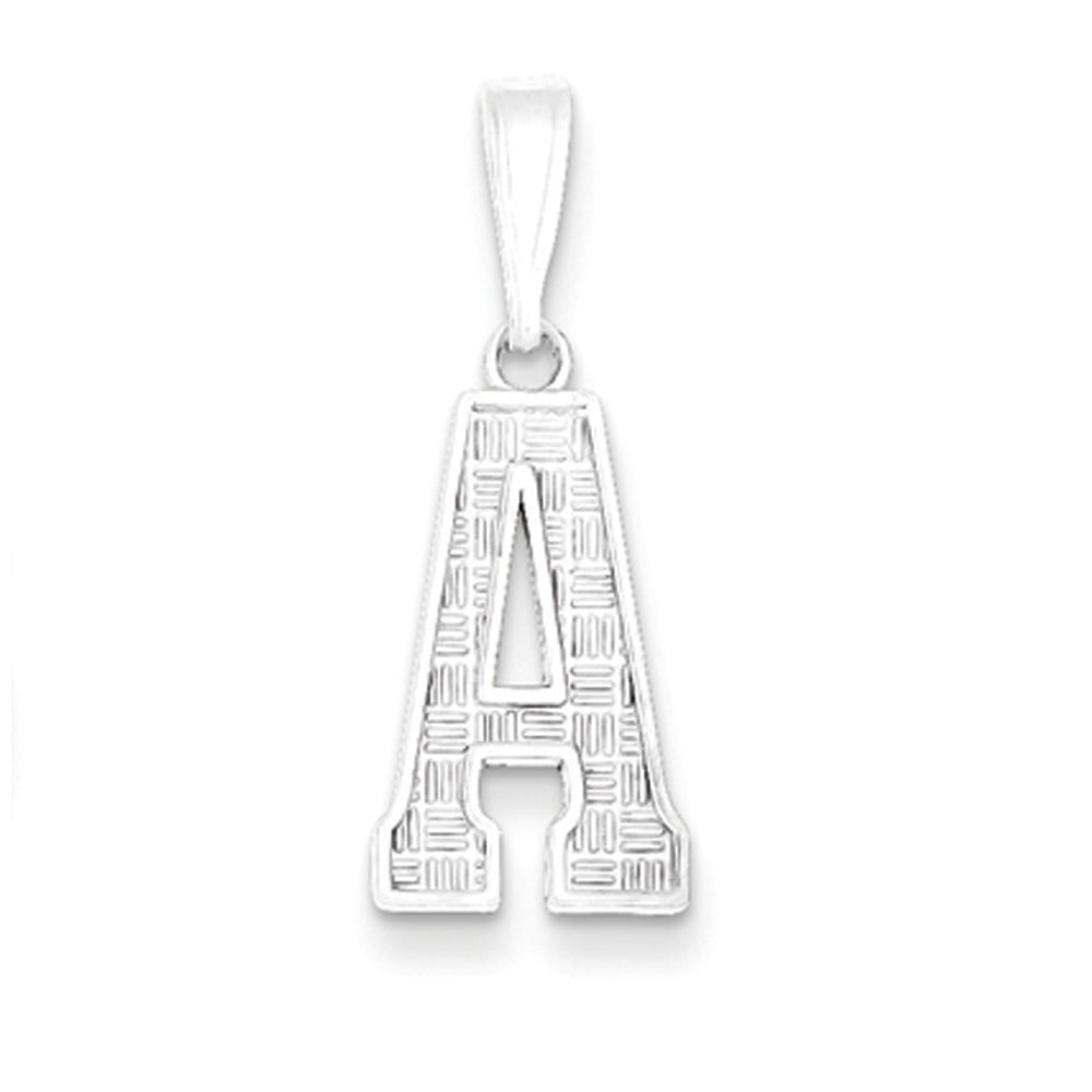 Sterling Silver, Sami Collection, Textured Block Initial A Pendant, Item P10431-A by The Black Bow Jewelry Co.