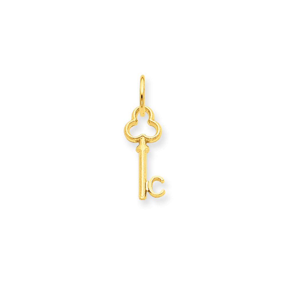 14k Yellow Gold, Hannah Collection, Mini Initial C Shamrock Key Charm, Item P10433-C by The Black Bow Jewelry Co.