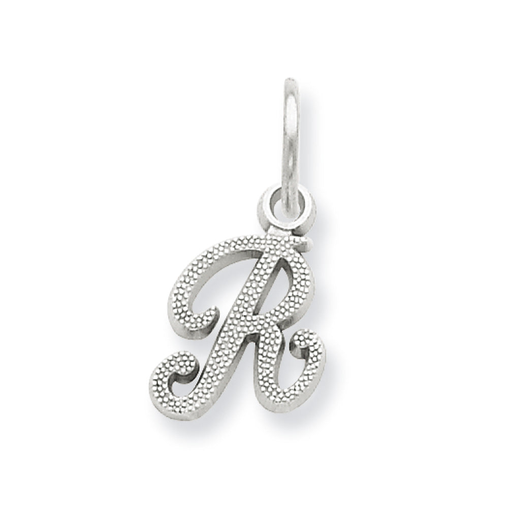 14k White Gold, Sadie Collection, Mini Satin Script Initial R Charm, Item P10435-R by The Black Bow Jewelry Co.