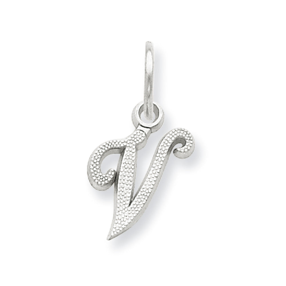 14k White Gold, Sadie Collection, Mini Satin Script Initial V Charm, Item P10435-V by The Black Bow Jewelry Co.