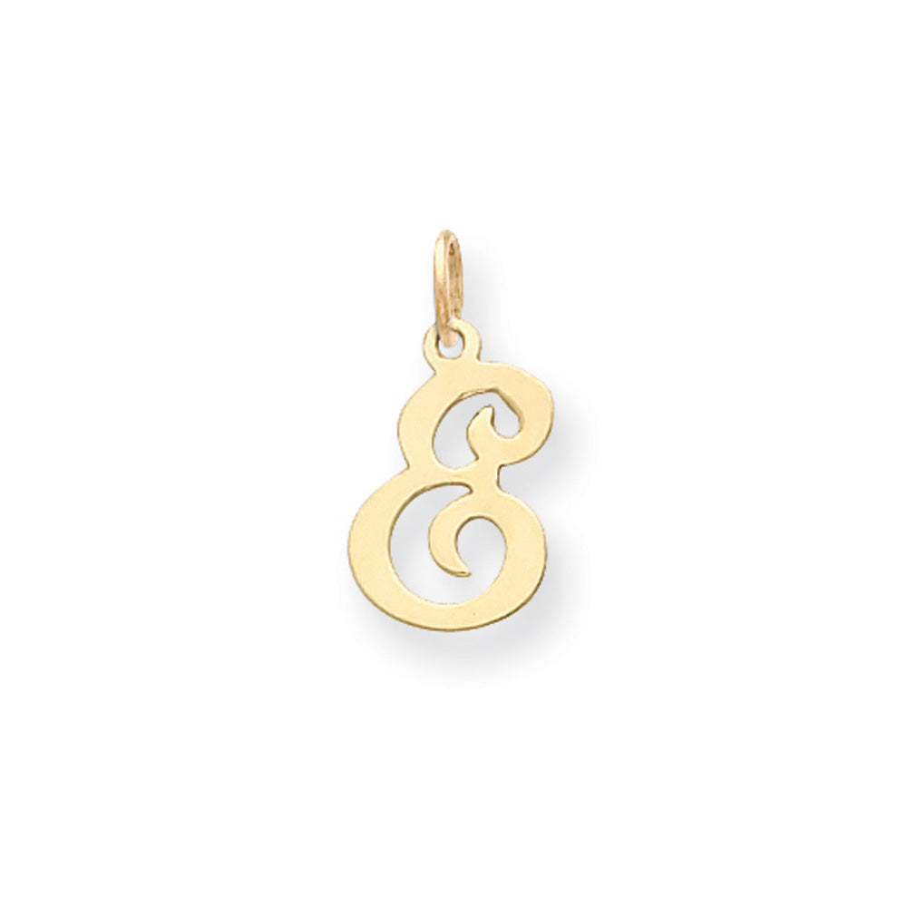 14k Yellow Gold, Sophia Collection, Small Script Initial E Pendant, Item P10436-E by The Black Bow Jewelry Co.
