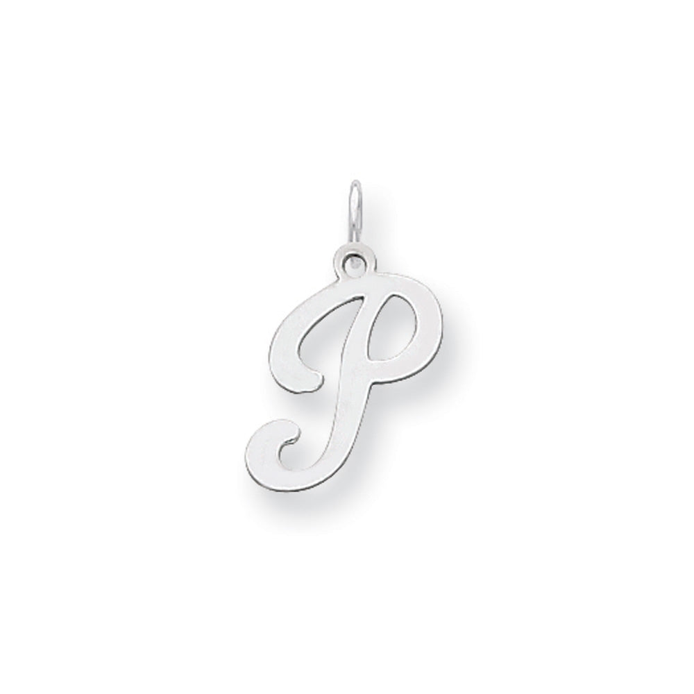 14k White Gold, Sophia Collection, Small Script Initial P Pendant, Item P10437-P by The Black Bow Jewelry Co.