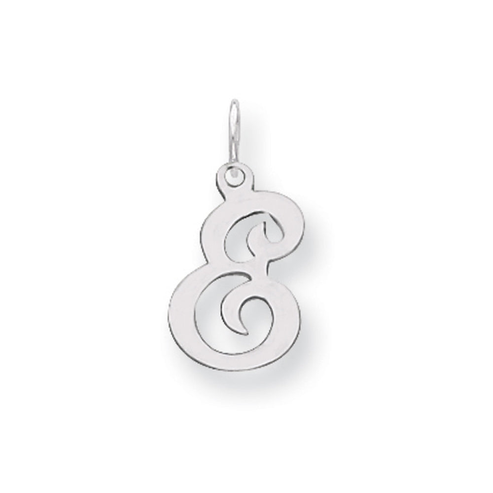 Sterling Silver, Sophia Collection, Small Script Initial E Pendant, Item P10438-E by The Black Bow Jewelry Co.