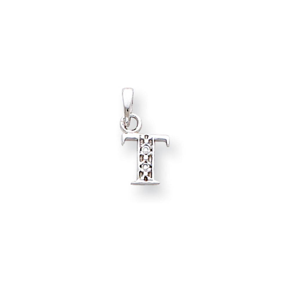 The Chloe Mini Diamond Accent initial T Pendant in 14k White Gold, Item P10441-T by The Black Bow Jewelry Co.