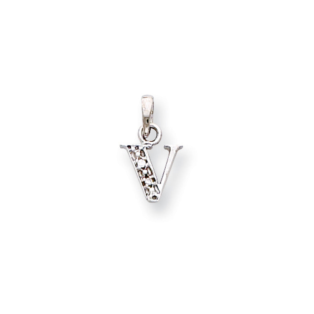 The Chloe Mini Diamond Accent initial V Pendant in 14k White Gold, Item P10441-V by The Black Bow Jewelry Co.