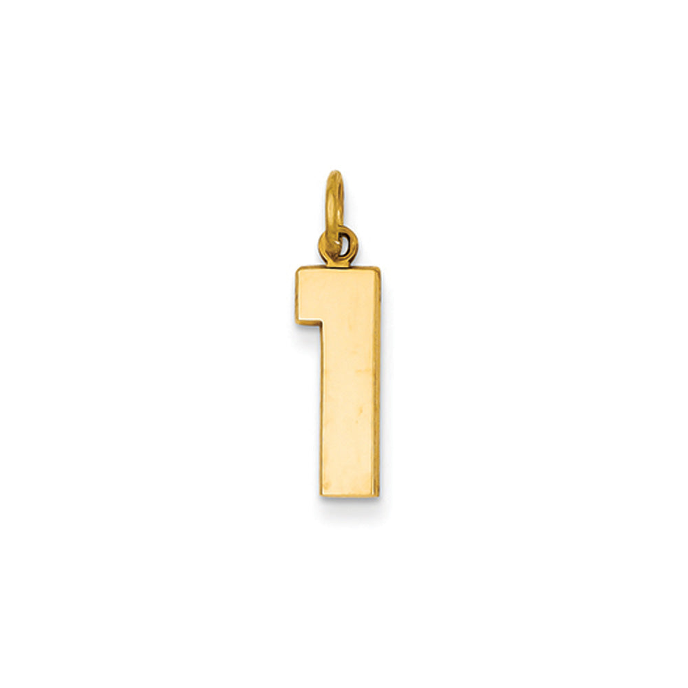 14k Yellow Gold, Athletic Collection Medium Polished Number 1 Pendant, Item P10444-1 by The Black Bow Jewelry Co.