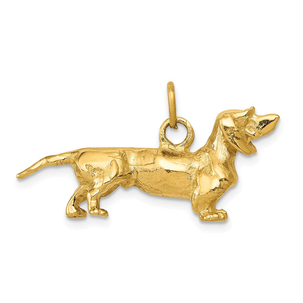 14k Yellow Gold 3D Dachshund Pendant, Item P10462 by The Black Bow Jewelry Co.