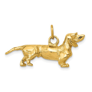 14k Yellow Gold 3D Dachshund Pendant - The Black Bow Jewelry Co.
