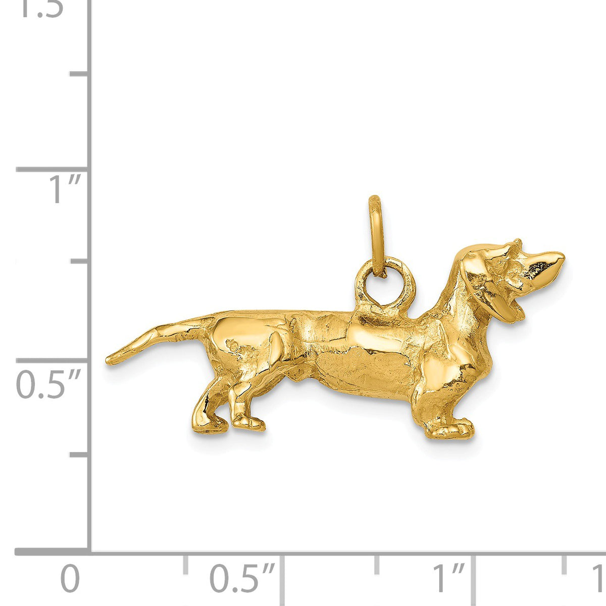 Alternate view of the 14k Yellow Gold 3D Dachshund Pendant by The Black Bow Jewelry Co.