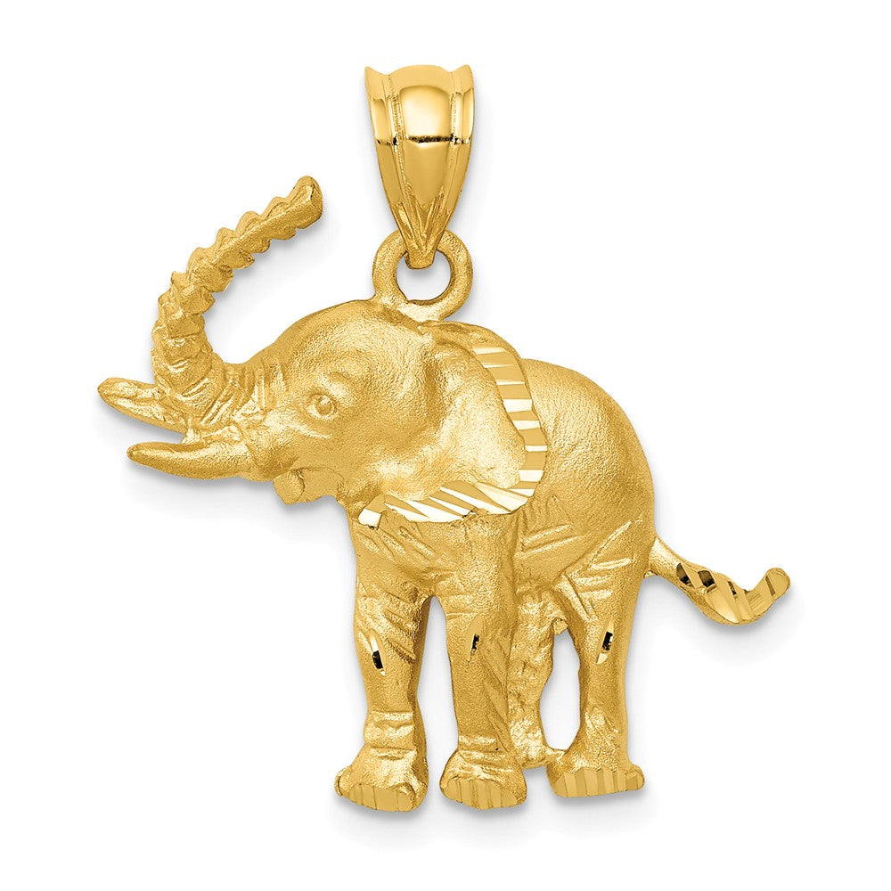 14k Yellow Gold Satin and Diamond Cut Elephant Pendant, Item P10470 by The Black Bow Jewelry Co.