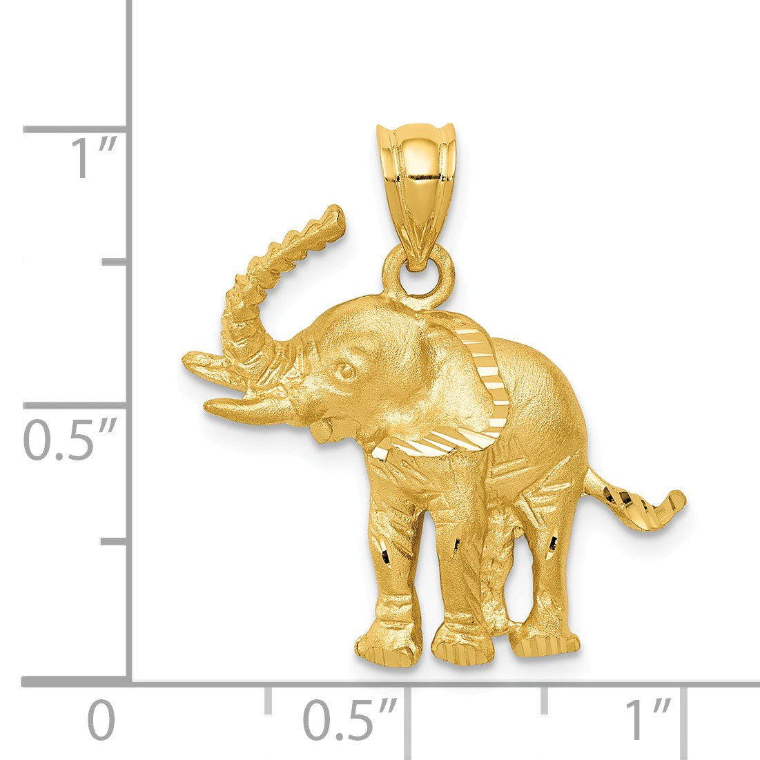 Alternate view of the 14k Yellow Gold Satin and Diamond Cut Elephant Pendant by The Black Bow Jewelry Co.