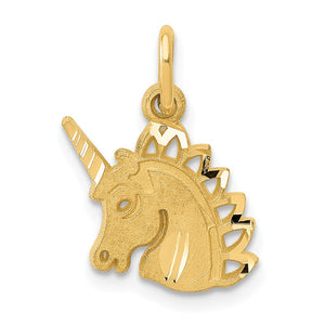14k Yellow Gold Satin and Diamond Cut Unicorn Head Charm - The Black Bow Jewelry Co.
