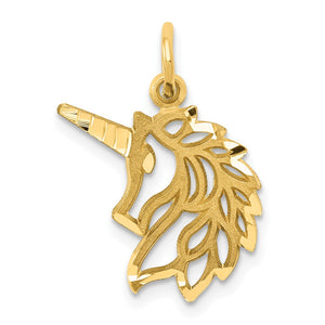 14k Yellow Gold Unicorn Head Silhouette Charm or Pendant - The Black Bow Jewelry Co.