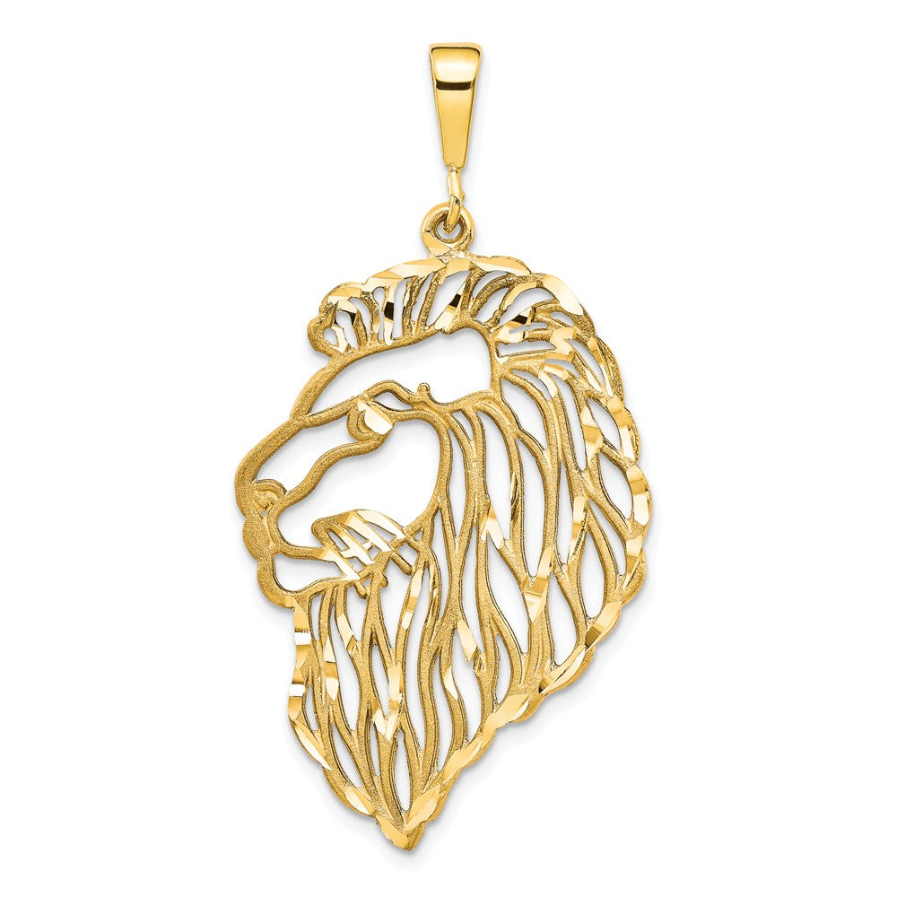 14k Yellow Gold Large Diamond Cut Filigree Lion's Head Pendant, Item P10479 by The Black Bow Jewelry Co.