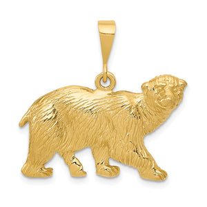 14k Yellow Gold Large Polished Textured Polar Bear Pendant - The Black Bow Jewelry Co.