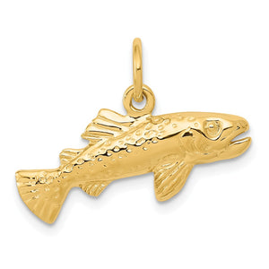 14k Yellow Gold Polished Fish Charm or Pendant - The Black Bow Jewelry Co.