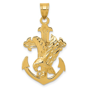 14k Yellow Gold Mariner Cross with Eagle Pendant - The Black Bow Jewelry Co.