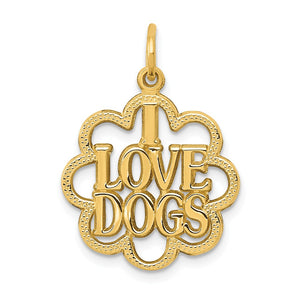 14k Yellow Gold I Love Dogs Scalloped Edge Pendant - The Black Bow Jewelry Co.