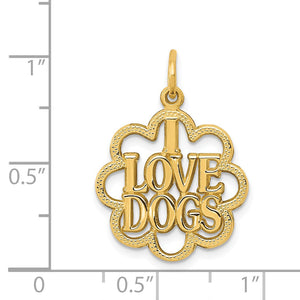 14k Yellow Gold I Love Dogs Scalloped Edge Pendant