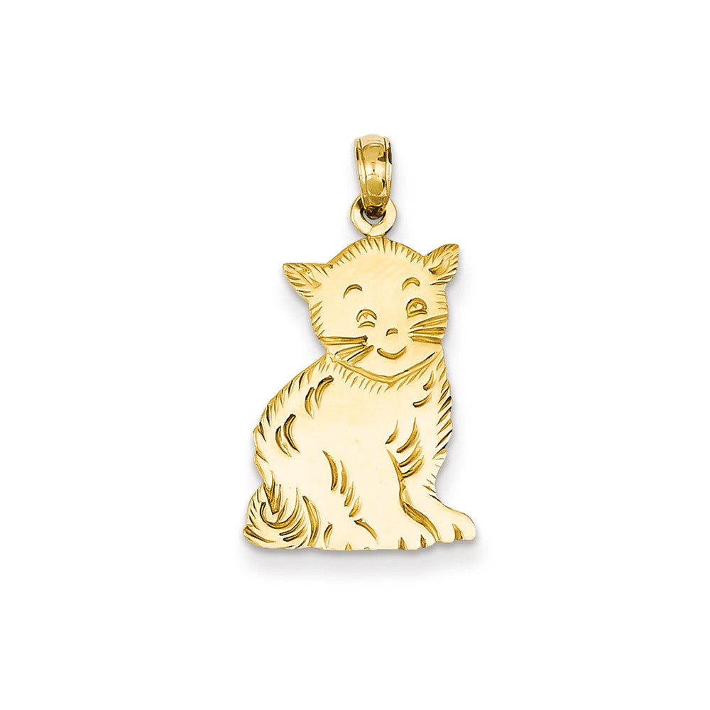 14k Yellow Gold Flat Polished Kitten Pendant, Item P10493 by The Black Bow Jewelry Co.