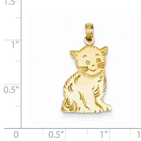 Alternate view of the 14k Yellow Gold Flat Polished Kitten Pendant by The Black Bow Jewelry Co.