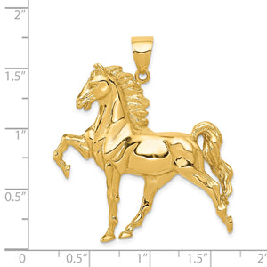 Alternate view of the 14k Yellow Gold Large Prancing Horse Pendant by The Black Bow Jewelry Co.