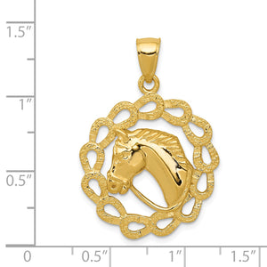 14k Yellow Gold Horse Head and Horseshoe Wreath Pendant, 24mm