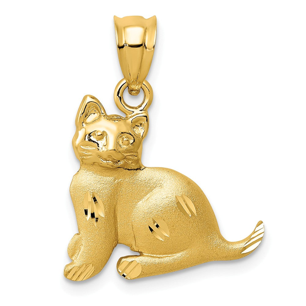 14k Yellow Gold Satin and Polished, Diamond Cut Cat Pendant, Item P10514 by The Black Bow Jewelry Co.
