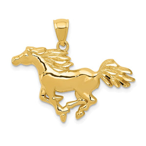 14k Yellow Gold Polished Galloping Horse Pendant - The Black Bow Jewelry Co.