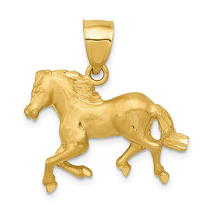 14k Yellow Gold Satin and Diamond Cut Horse Pendant, 22mm - The Black Bow Jewelry Co.
