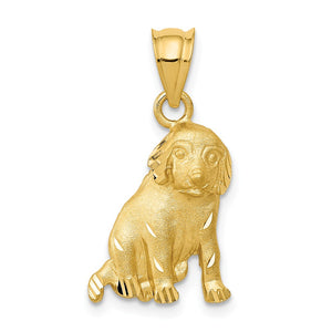 14k Yellow Gold 2D Satin and Diamond Cut Dog Pendant or Charm - The Black Bow Jewelry Co.