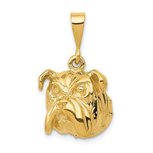 14k Yellow Gold Bulldog Head Pendant, 15mm - The Black Bow Jewelry Co.