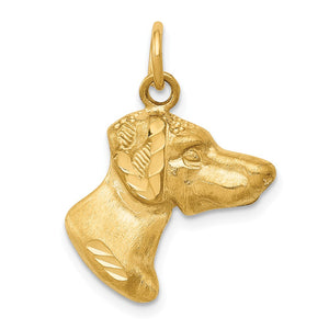 14k Yellow Gold Pointer Dog Head Pendant or Charm - The Black Bow Jewelry Co.