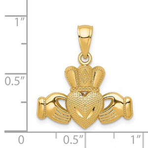 14k Yellow Gold Polished & Textured Claddagh Pendant