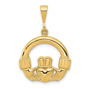 14k Yellow Gold Claddagh Pendant, 20mm - The Black Bow Jewelry Co.