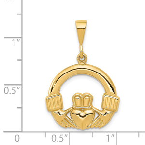 14k Yellow Gold Claddagh Pendant, 20mm
