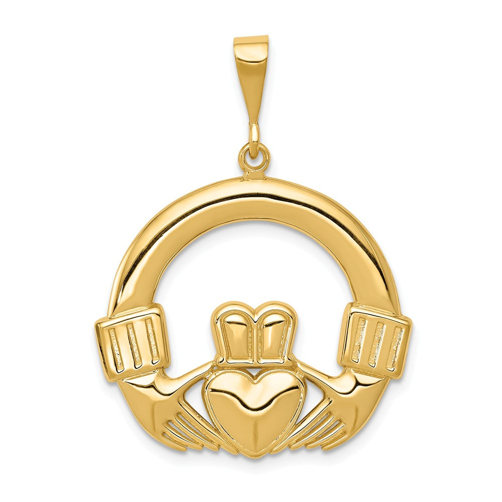 14k Yellow Gold Claddagh Pendant, 25mm, Item P10620 by The Black Bow Jewelry Co.